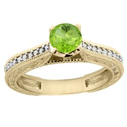 0.60 CTW Peridot & Diamond Ring 14K Yellow Gold - REF-53A2X