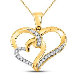 Womens Round Diamond Double Heart Pendant 1/10 Cttw 10kt Yellow Gold - REF-9F5W