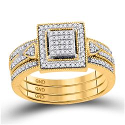 Diamond Square 3-Piece Bridal Wedding Ring Band Set 1/3 Cttw 10kt Yellow Gold - REF-32R5X
