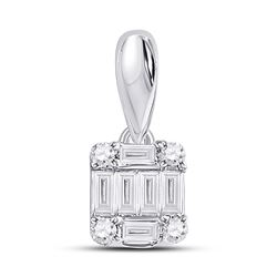 Womens Baguette Diamond Fashion Cluster Pendant 1/8 Cttw 14kt White Gold - REF-12K9Y