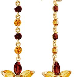 Genuine 4.8 ctw Citrine & Garnet Earrings 14KT Yellow Gold - REF-56Y8F
