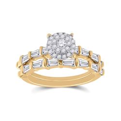Round Diamond Bridal Wedding Ring Band Set 1 Cttw 14kt Yellow Gold - REF-85X9A