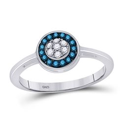 Womens Round Blue Color Enhanced Diamond Cluster Ring 1/5 Cttw 10kt White Gold - REF-16M5H