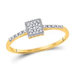 Womens Round Diamond Square Cluster Ring 1/20 Cttw 10kt Yellow Gold - REF-9F9W