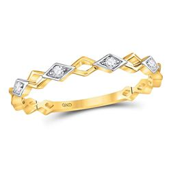 Womens Round Diamond Stackable Band Ring 1/20 Cttw 10kt Yellow Gold - REF-8X5A