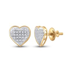 Womens Round Diamond Heart Cluster Earrings 1/6 Cttw 10kt Yellow Gold - REF-14R9X