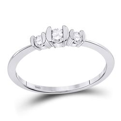 Round Diamond 3-stone Bridal Wedding Engagement Ring 1/4 Cttw 10kt White Gold - REF-16Y9N