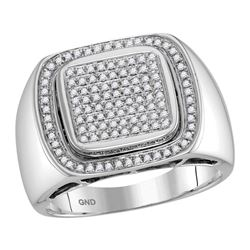Mens Round Diamond Square Frame Cluster Ring 1/2 Cttw 10kt White Gold - REF-65F9W
