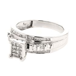 0.50 CTW Diamond Ring 14K White Gold - REF-57R6K