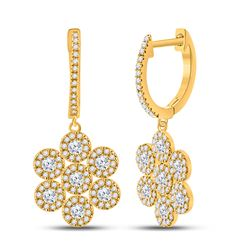 Womens Round Diamond Dangle Earrings 1 Cttw 10kt Yellow Gold - REF-49F9W
