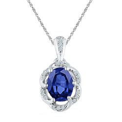 Womens Oval Lab-Created Blue Sapphire Solitaire Diamond Pendant 1-3/4 Cttw 10kt White Gold - REF-14X