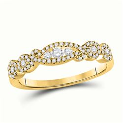 Womens Round Diamond 3-Stone Band Ring 1/3 Cttw 14kt Yellow Gold - REF-32N5F