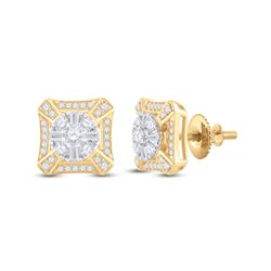 Mens Baguette Diamond Square Cluster Earrings 3/4 Cttw 14kt Yellow Gold - REF-60R9X
