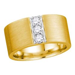 Mens Round Diamond 3-stone Matte Wedding Band 1/2 Cttw 14kt Yellow Gold - REF-170M9H