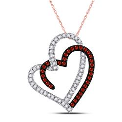 Womens Round Red Color Enhanced Diamond Double Heart Pendant 1/5 Cttw 10kt Rose Gold - REF-14F9W