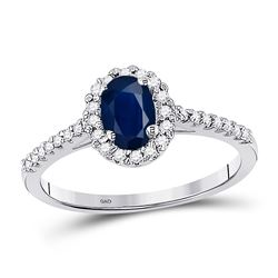 Womens Oval Lab-Created Blue Sapphire Solitaire Ring 3/4 Cttw 10kt White Gold - REF-17Y5N