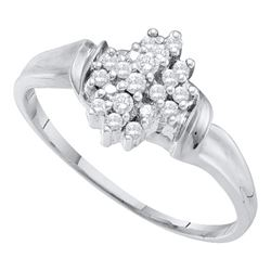Womens Round Diamond Cluster Ring 1/6 Cttw 10kt White Gold - REF-8N5F