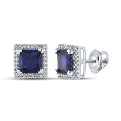Womens Princess Lab-Created Blue Sapphire Stud Earrings 2 Cttw 10kt White Gold - REF-12H9R