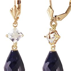 Genuine 18.6 ctw Sapphire & White Topaz Earrings 14KT Yellow Gold - REF-46Y7F
