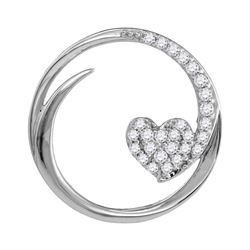 Womens Round Diamond Heart Circle Pendant 1/4 Cttw 10kt White Gold - REF-19A5M