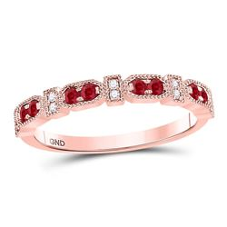 Womens Round Ruby Diamond Stackable Band Ring 1/4 Cttw 10kt Rose Gold - REF-16N9F