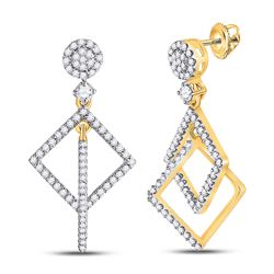 Womens Round Diamond Diagonal Square Dangle Earrings 3/8 Cttw 10kt Yellow Gold - REF-24R9X