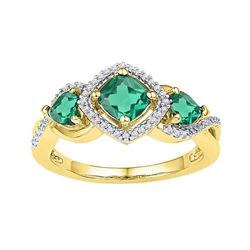 Womens Cushion Lab-Created Emerald 3-stone Ring 1-1/2 Cttw 10kt Yellow Gold - REF-21X9A