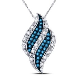 Womens Round Blue Color Enhanced Diamond Cluster Pendant 1/10 Cttw 10kt White Gold - REF-10M5H