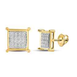 Womens Round Diamond Square Earrings 1/10 Cttw 10kt Yellow Gold - REF-9H9R