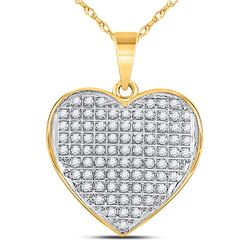 Womens Round Diamond Heart Pendant 1/4 Cttw 10kt Yellow Gold - REF-14X9A