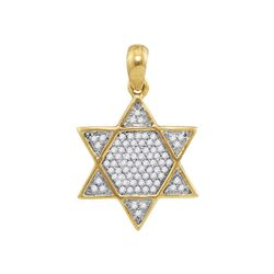 Mens Round Diamond 6-Point Star Magen David Charm Pendant 1/5 Cttw 10kt Yellow Gold - REF-13R9X