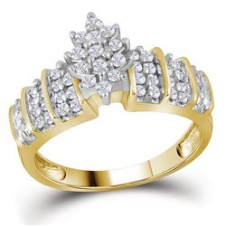 Womens Round Diamond Marquise-shape Cluster Ring 1/2 Cttw 10kt Yellow Gold - REF-24Y5N