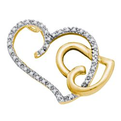 Womens Round Diamond Heart Pendant 1/6 Cttw 14kt Two-tone Gold - REF-13Y9N