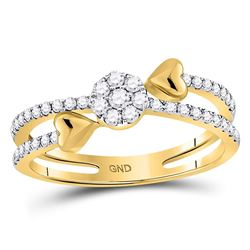 Womens Round Diamond Fashion Heart Ring 1/3 Cttw 14kt Yellow Gold - REF-32F5W