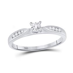 Princess Diamond Solitaire Bridal Wedding Engagement Ring 1/4 Cttw 14kt White Gold - REF-29M9H