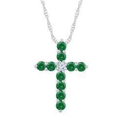Womens Round Lab-Created Emerald Cross Pendant 5/8 Cttw 10kt White Gold - REF-12W9K