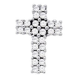 Womens Round Diamond Cross Pendant 1/3 Cttw 14kt White Gold - REF-24W9K