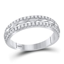 Womens Round Diamond Double Row Band Ring 1/2 Cttw 14kt White Gold - REF-32N5F