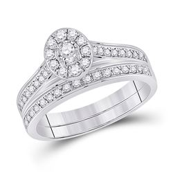 Round Diamond Bridal Wedding Ring Band Set 1/2 Cttw 10kt White Gold - REF-36N9F