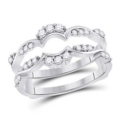 Womens Round Diamond Wrap Ring Guard Enhancer 1/3 Cttw 14kt White Gold - REF-46W5K