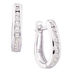 Womens Round Diamond Oblong Hoop Earrings 1/4 Cttw 14kt White Gold - REF-21F5W