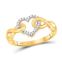 Womens Round Diamond Infinity Twist Heart Ring 1/10 Cttw 10kt Yellow Gold - REF-15R5X