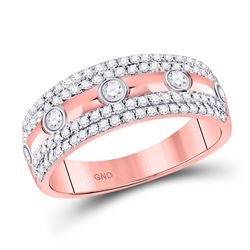 Womens Round Diamond Anniversary Ring 1/2 Cttw 10kt Rose Gold - REF-36Y9N