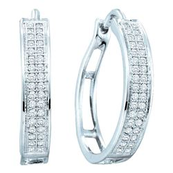 Womens Round Diamond Hoop Earrings 1/5 Cttw 10kt White Gold - REF-16N9F