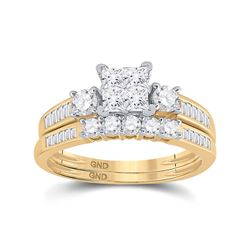 Princess Diamond Bridal Wedding Ring Set 1 Cttw Size 10 10kt Yellow Gold - REF-72H9R