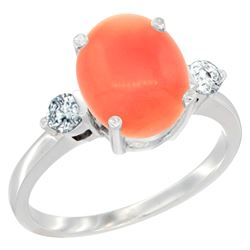 0.20 CTW Diamond & Natural Coral Ring 14K White Gold - REF-68V2R