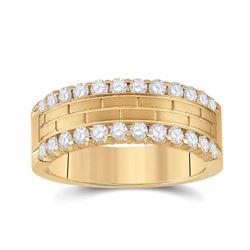 Mens Round Diamond Wedding Brick Band Ring 1 Cttw 10kt Yellow Gold - REF-87W5K