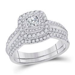 Round Diamond Bridal Wedding Ring Band Set 1 Cttw 14kt White Gold - REF-104X9A