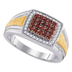 Mens Round Brown Diamond Square Cluster Ring 1/2 Cttw 10kt Two-tone Gold - REF-48N5F