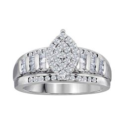 Round Diamond Oval Cluster Bridal Wedding Engagement Ring 3 Cttw 10kt White Gold - REF-150X9A